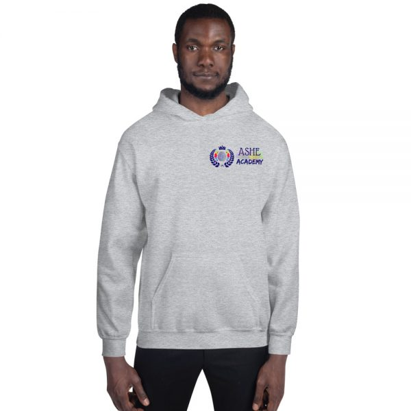 Man wearing Sport Grey Inspire Uplift Engage Hoodie front view The Ashe Academy Store