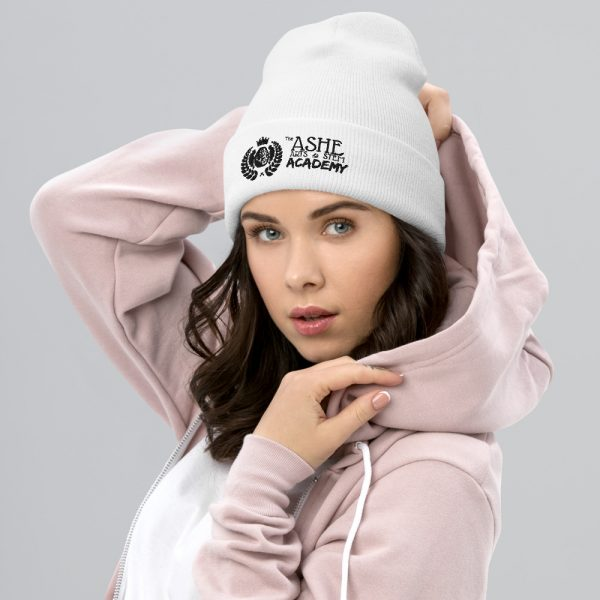 Woman wearing White beanie facing right The Ashe Academy Store