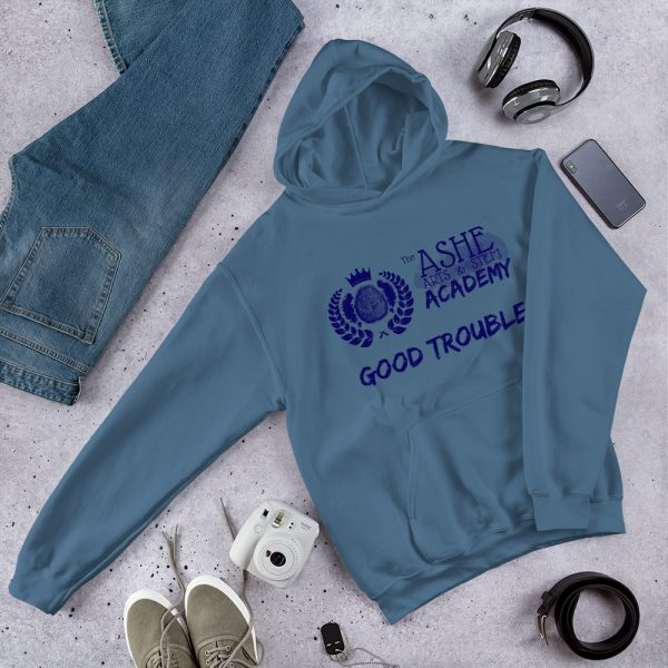 Indigo Blue Good Trouble Hoodie laying next to jeans, phone and headphones The Ashe Academy Store