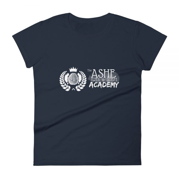 Women's Navy front view short sleeve Social Distancing T-Shirt The Ashe Academy Store