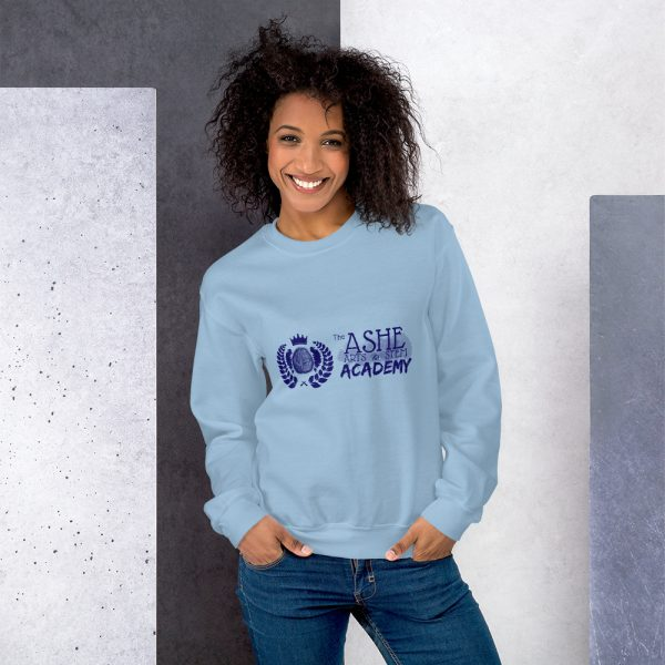 Woman with hair down wearing Light Blue Sweatshirt standing at an angle front view The Ashe Academy Store