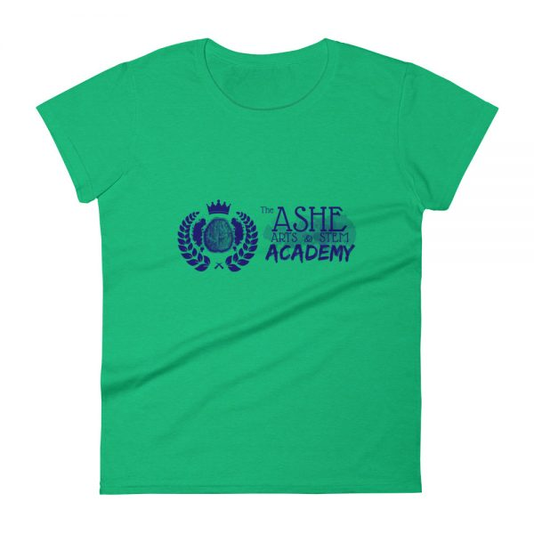 Women's Heather Green front view short sleeve Social Distancing T-Shirt The Ashe Academy Store