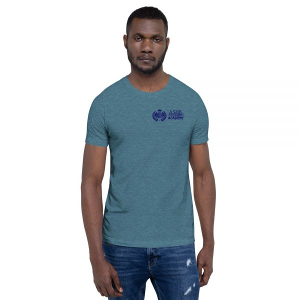 Man wearing Heather Deep Teal short sleeve Social Distancing T-Shirt front view The Ashe Academy Store