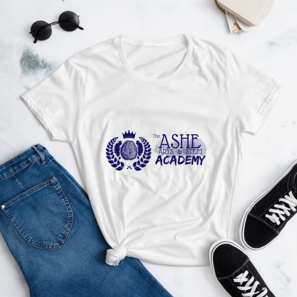 Women's White short sleeve Social Distancing T-Shirt laying down on pants The Ashe Academy Store