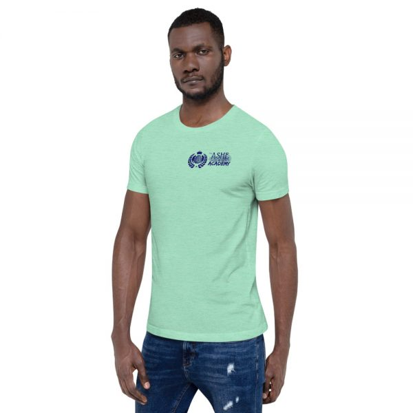 Man wearing Heather Mint short sleeve Social Distancing T-Shirt facing right The Ashe Academy Store