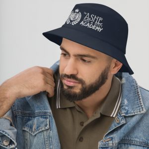 Man wearing Navy Bucket Hat facing right The Ashe Academy Store