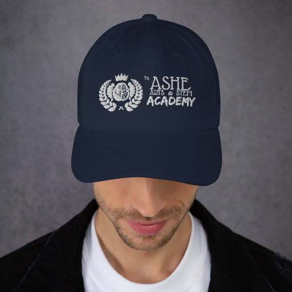 Man wearing Navy Ballcap front view The Ashe Academy Store