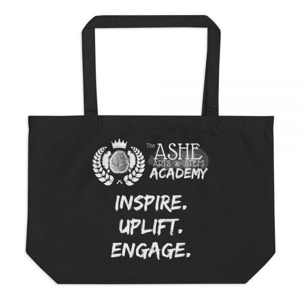 Black Tote Bag without background The Ashe Academy Store