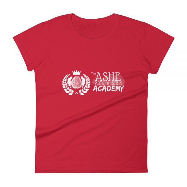 Women's Red front view short sleeve Social Distancing T-Shirt The Ashe Academy Store