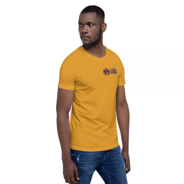 Man wearing Mustard short sleeve Social Distancing T-Shirt facing left The Ashe Academy Store