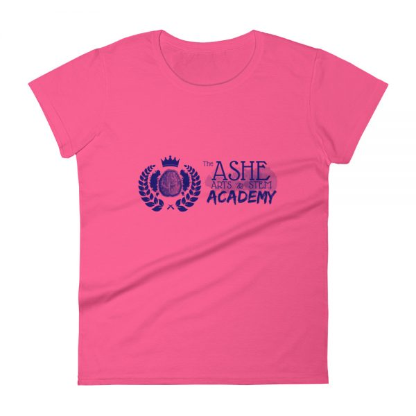 Women's Hot Pink front view short sleeve Social Distancing T-Shirt The Ashe Academy Store