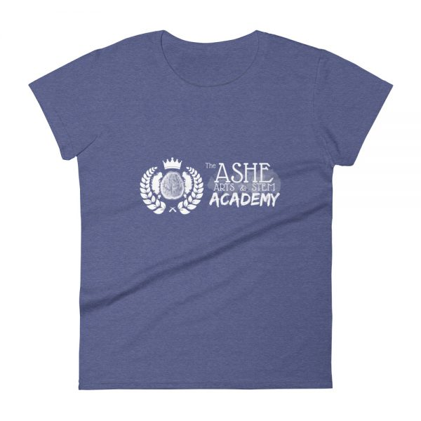 Women's Heather Blue front view short sleeve Social Distancing T-Shirt The Ashe Academy Store