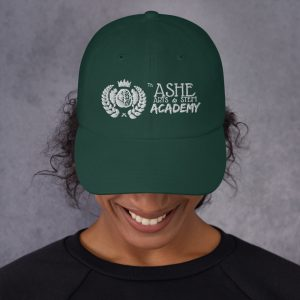Woman wearing Spruce Ballcap front view The Ashe Academy Store