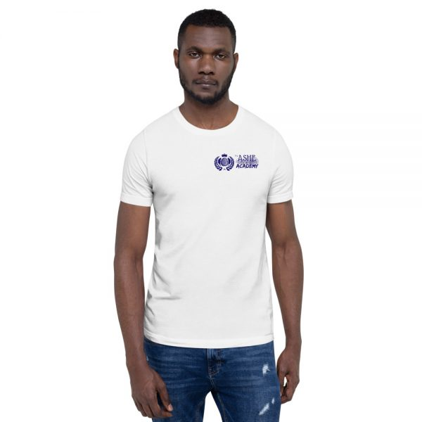 Man wearing White short sleeve Social Distancing T-Shirt front view The Ashe Academy Store