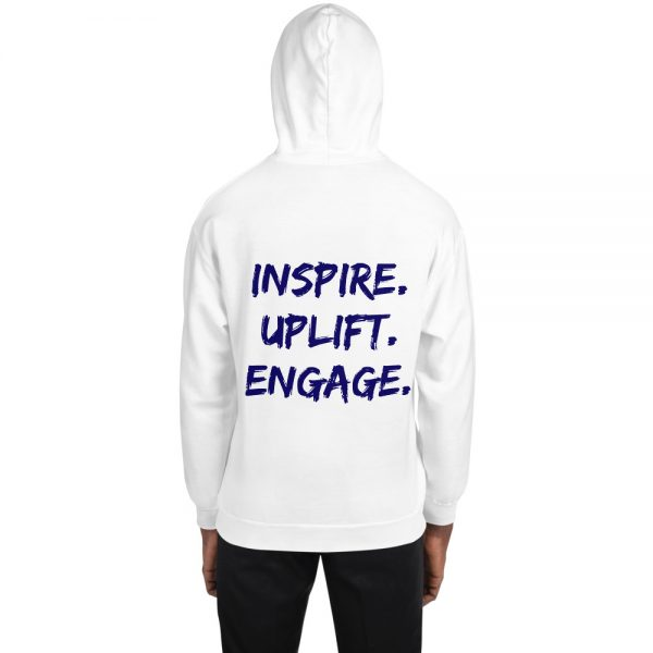 Man wearing White Inspire Uplift Engage Hoodie with hood on back view The Ashe Academy Store