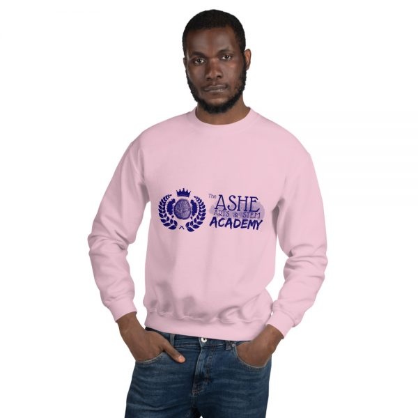 Man wearing Light Pink Sweatshirt front view The Ashe Academy Store