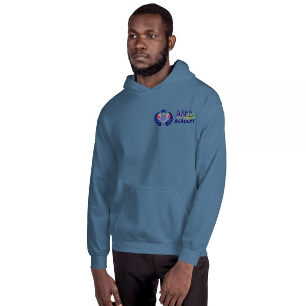 Man wearing Indigo Blue Inspire Uplift Engage Hoodie facing right The Ashe Academy Store