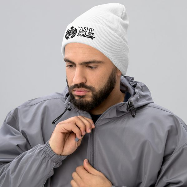 Man wearing White beanie facing right The Ashe Academy Store