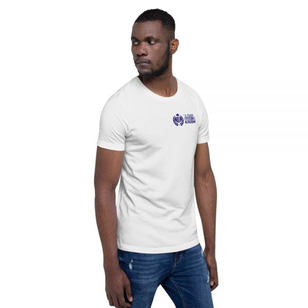 Man wearing White short sleeve Social Distancing T-Shirt facing left The Ashe Academy Store