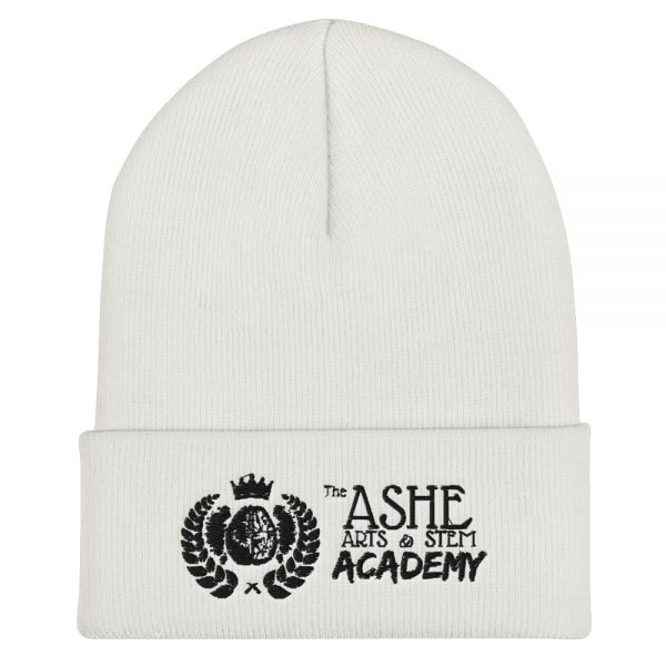 White Beanie front view The Ashe Academy Store