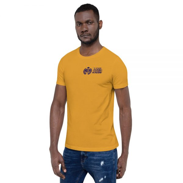 Man wearing Mustard short sleeve Social Distancing T-Shirt facing right The Ashe Academy Store