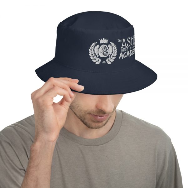 Man wearing Navy Bucket Hat facing left The Ashe Academy Store