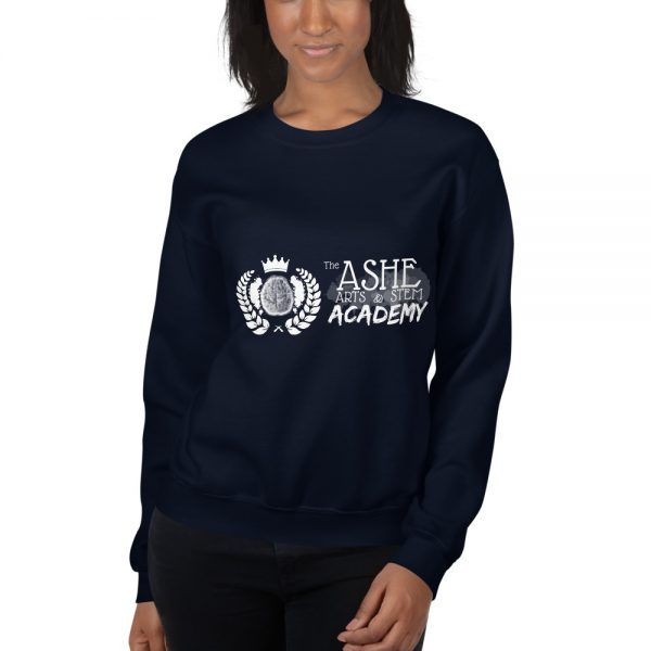 Woman wearing Navy Sweatshirt close up front view The Ashe Academy Store