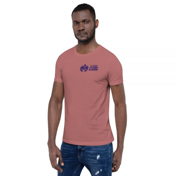 Man wearing Mauve short sleeve Social Distancing T-Shirt facing right The Ashe Academy Store