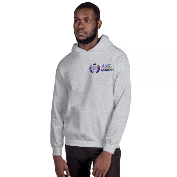 Man wearing Sport Grey Inspire Uplift Engage Hoodie facing right The Ashe Academy Store