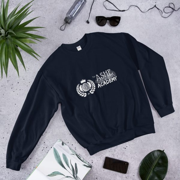 Navy Sweatshirt laying down next to phone and sun glasses front view The Ashe Academy Store