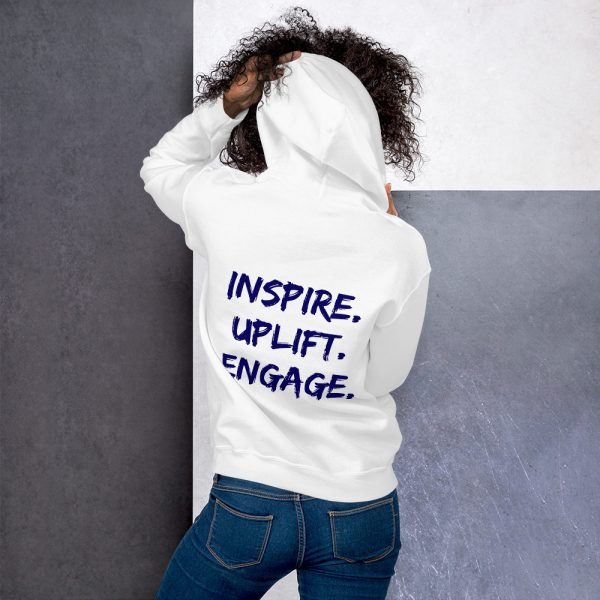 Woman wearing White Inspire Uplift Engage Hoodie back view The Ashe Academy Store