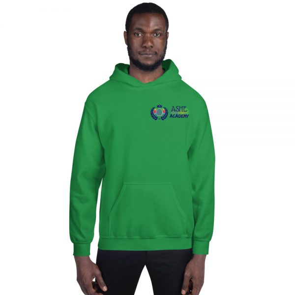 Man wearing Irish Green Inspire Uplift Engage Hoodie front view The Ashe Academy Store
