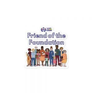 3x3 Friend of The Foundation Sticker with The Ashe Academy logo and Illustration of people The Ashe Academy Store