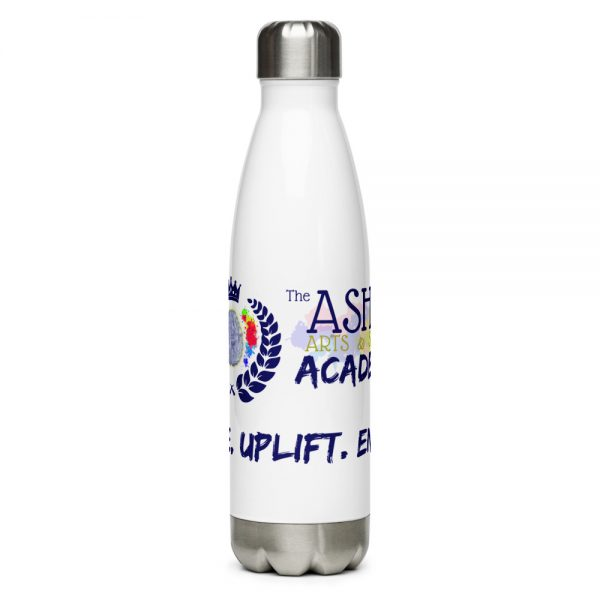 The Ashe Academy Water Bottle with The Ashe Academy logo and Inspire. Uplift. Enage. Tagline center veiwpoint The Ashe Academy Store