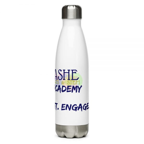 The Ashe Academy Water Bottle with The Ashe Academy logo and Inspire. Uplift. Enage. Tagline right side veiwpoint The Ashe Academy Store
