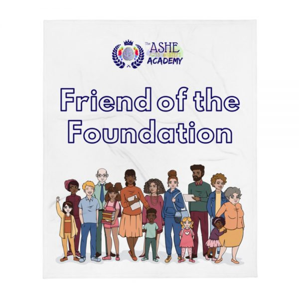 Friend of the Foundation Throw Blanket with The Ashe Academy logo and Illustration of people The Ashe Academy Store