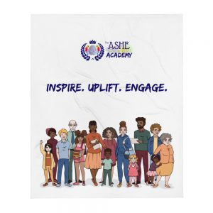 Inspire. Uplift. Engage. Throw Blanket with The Ashe Academy logo and Illustration of people The Ashe Academy Store