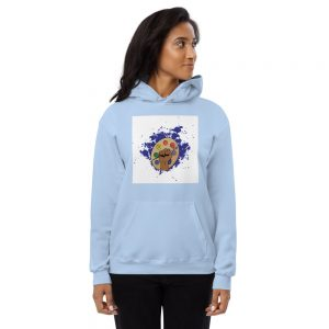Woman wearing light blue Spring Collection Harmony hoodie profile