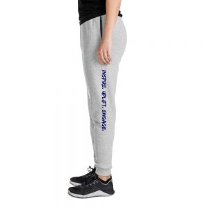 Woman wearing Athletic Heather Inspire. Uplift. Engage. Joggers left profile The Ashe Academy Store