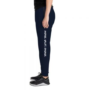 Woman wearing J. Navy Inspire. Uplift. Engage. Joggers left profile The Ashe Academy Store