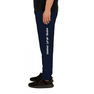 Man wearing J. Navy Inspire. Uplift. Engage. Joggers left profile The Ashe Academy Store