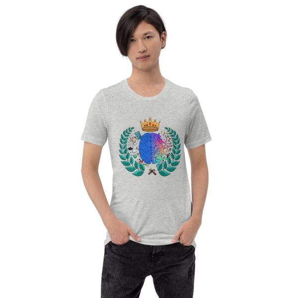 Man wearing Athletic Grey short sleeved Spring Collection Harmony T-Shirt front view The Ashe Academy Store
