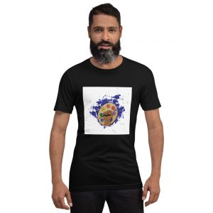 Man wearing Black short sleeved Spring Collection Arts & STEM Palette T-Shirt front view The Ashe Academy Store