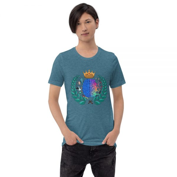 Man wearing Heather Deep Teal short sleeved Spring Collection Harmony T-Shirt front view The Ashe Academy Store