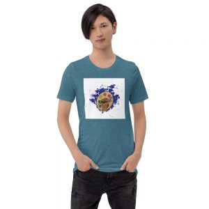 Man wearing Heather Deep Teal short sleeved Spring Collection Arts & STEM Palette T-Shirt front view The Ashe Academy Store