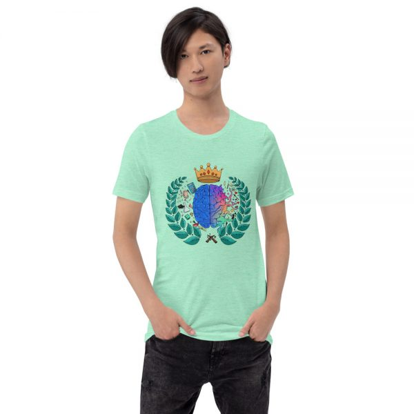 Man wearing Heather Mint sleeved Spring Collection Harmony T-Shirt front view The Ashe Academy Store