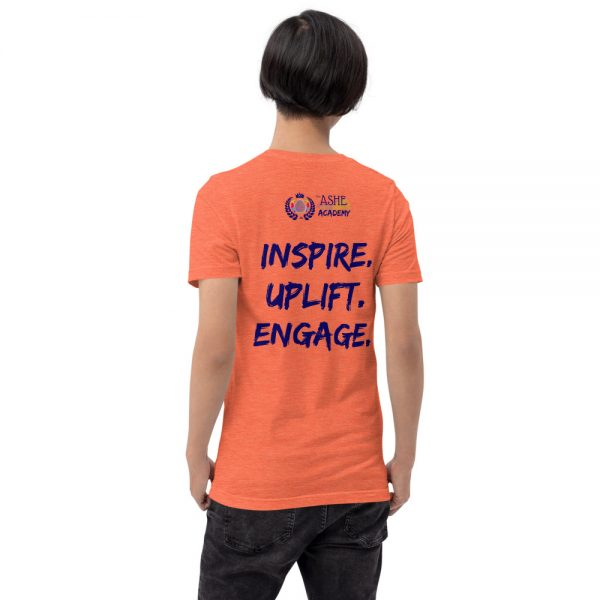 Man wearing Heather Orange short sleeved Spring Collection Harmony T-Shirt back view The Ashe Academy Store