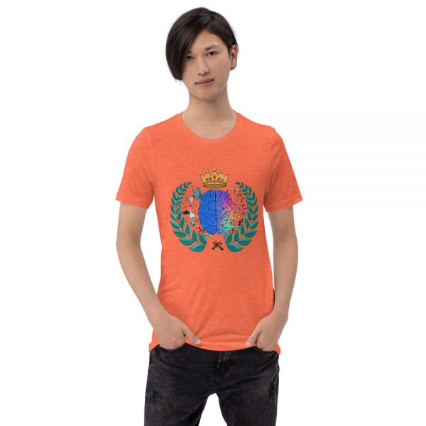 Man wearing Heather Orange short sleeved Spring Collection Harmony T-Shirt front view The Ashe Academy Store