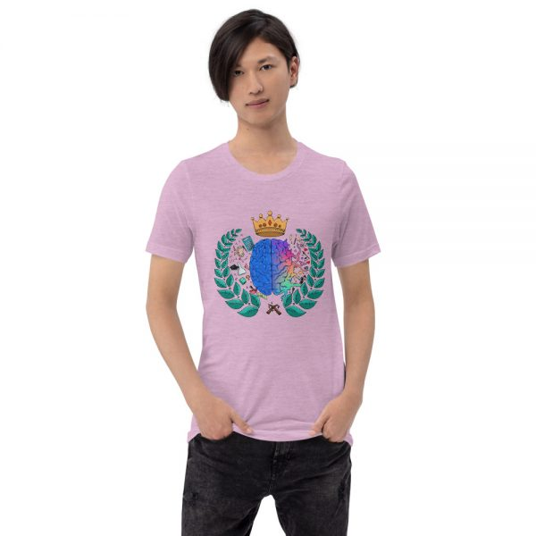 Man wearing Heather Prism Lilac short sleeved Spring Collection Harmony T-Shirt front view The Ashe Academy Store