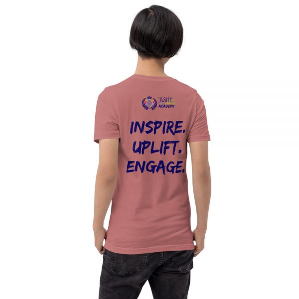 Man wearing Mauve short sleeved Spring Collection Harmony T-Shirt back view The Ashe Academy Store
